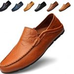 Go Tour Men's Premium Genuine Leather Casual Slip on Loafers Best Breathable Driving Shoes Fashion Slipper