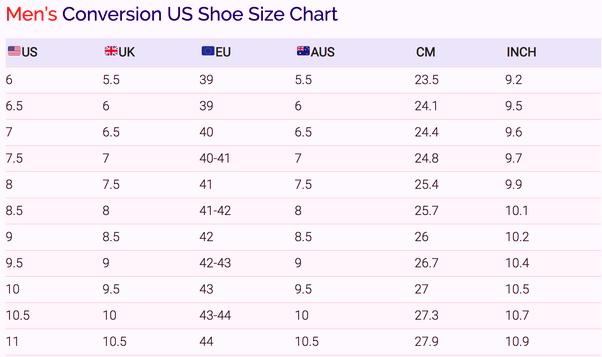shoe size measurements